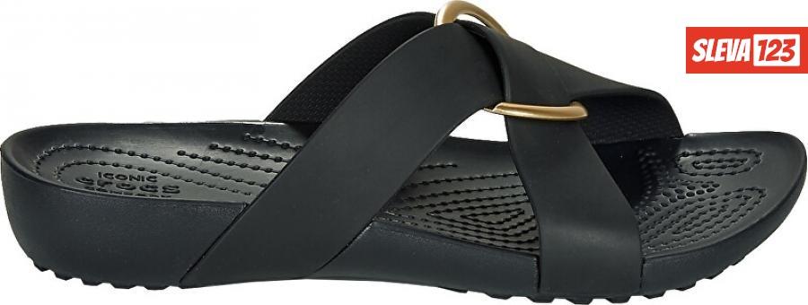 Crocs Dámské pantofle Crocs Serena Cross Band Slde W Black 206099-001 39-40
