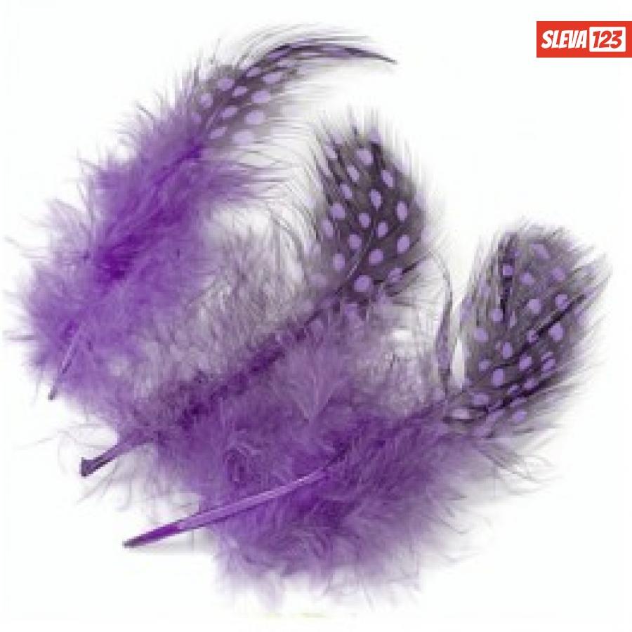 Peří z perličky 20ks - Fialové 5cm  36412