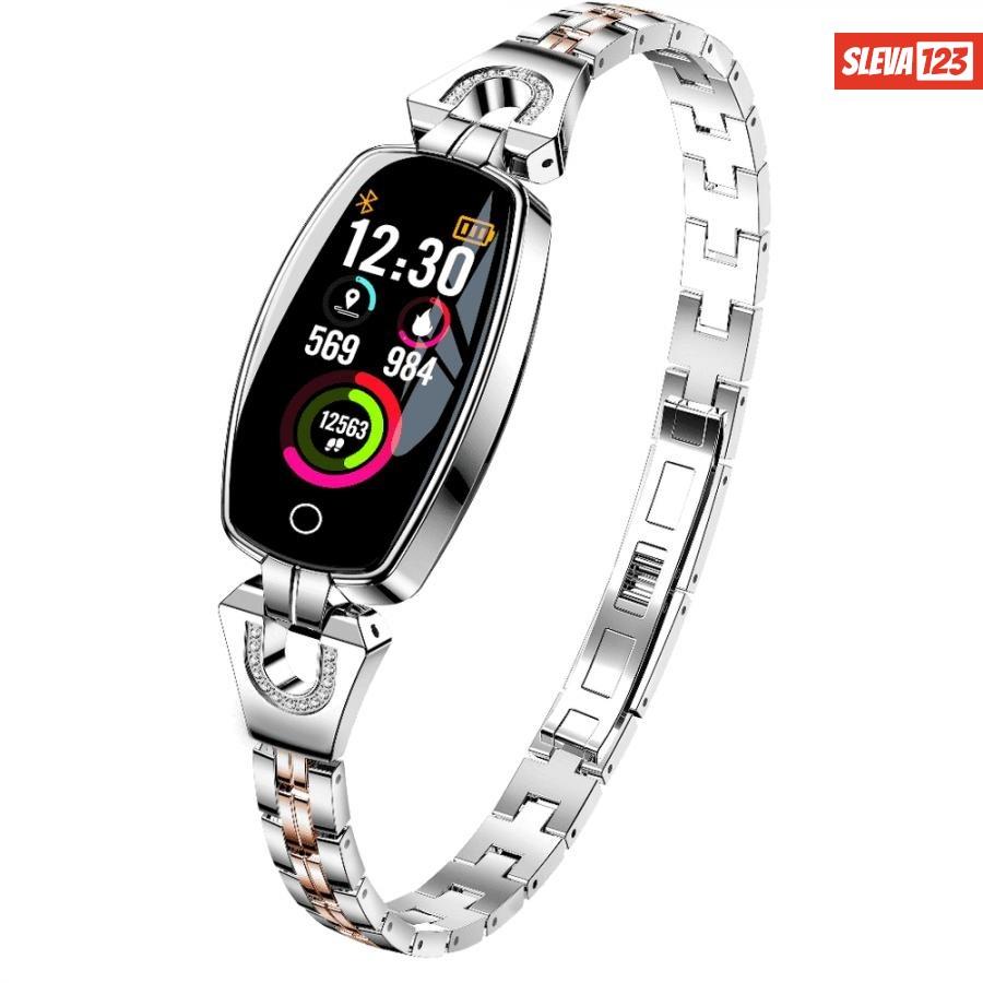 Smartomat Chicband, chytré hodinky dámské  - stříbrná
