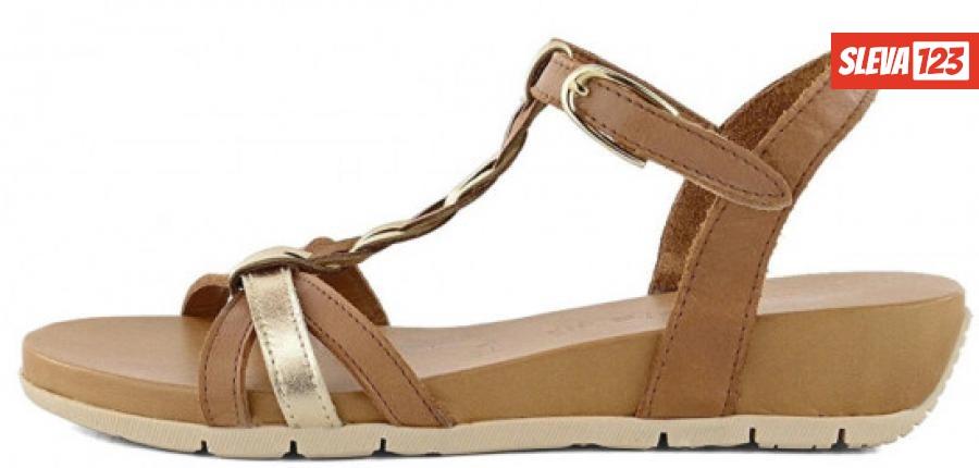 Tamaris Dámské kožené sandále 1-1-28251-24-394 Cognac/Gold - Velikost 38