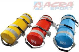ACRA Bag posilovací pytel 55cm na cvičení 15kg červený válec 4 úchopy