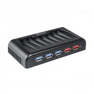 AKASA USB hub Connect 7 EX / AK-HB-11BKCM / 5x USB 3.0 / 2x nabíjecí USB port / napájecí adaptér / černý, AK-HB-11BKCM