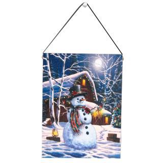 Altom LED obraz na plátně Sněhulák, 15 x 20 cm
