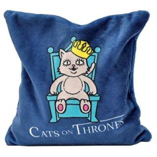 Aumüller Cats On Thrones polštářek pro kočky na hraní s baldriánem - modrý, d 17 x š 17 cm