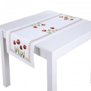 Běhoun na stůl s výšivkou TULIPÁNY 40 x 110 cm