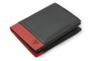 Černo červená pánská kožená peněženka Lyric