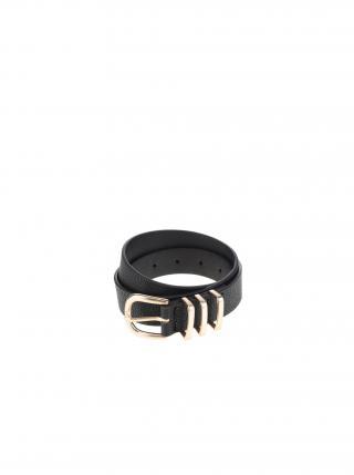 Černý pásek s přezkou ve zlaté barvě Pieces