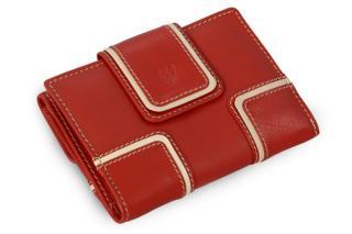 Červená dámská kožená peněženka s béžovým lemováním Paislee