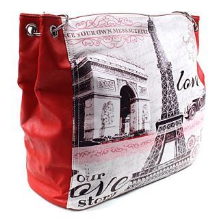 Červená moderní dámská kabelka na rameno Parisia