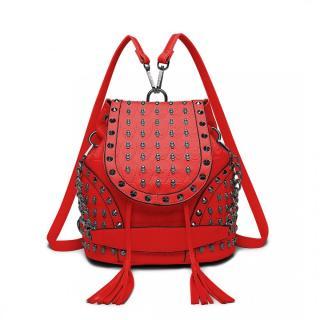 Červený dámský batoh / kabelka s lebkami Daan