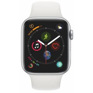 Chytré hodinky Apple Watch Series 4 GPS 44mm pouzdro ze stříbrného hliníku - bílý sportovní řemínek SK verze