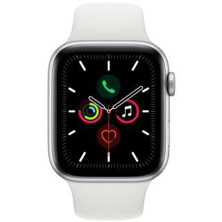 Chytré hodinky Apple Watch Series 5 GPS 44mm pouzdro ze stříbrného hliníku - bílý sportovní řemínek SK