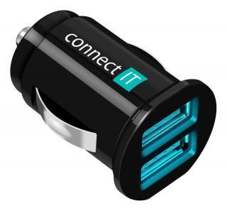 Connect IT autonabíječka, 2x USB, 2,1 A   1 A, černá - rozbaleno