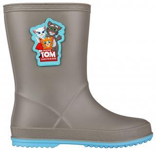 Coqui Dětské holínky TT&F Rainy Mid. Grey/New Blue 8505-605-4818 27