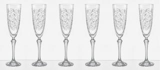 Crystalex LEAVES skleničky na sekt 200 ml - rozbaleno