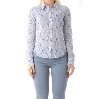 Dámská košile Fornarina, květinový vzor, azurová