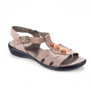 Dámské kožené sandále s korálky vel. 41