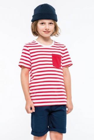 Dětské námořnické tričko s kapsičkou Kariban - červené-bílé, 10-12 let