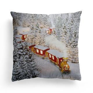 Domarex Vánoční svíticí polštářek s LED světýlky Christmas Train, 45 x 45 cm