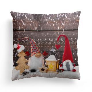 Domarex Vánoční svíticí polštářek s LED světýlky Skřítci s lucernou, 45 x 45 cm