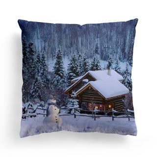 Domarex Vánoční svíticí polštářek s LED světýlky Sněhulák, 45 x 45 cm