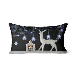 Domarex Vánoční svíticí polštářek s LED světýlky Sob a lucerna, 30 x 50 cm