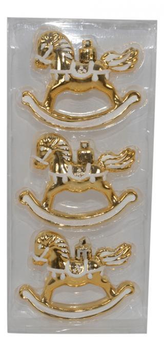 DUE ESSE Set 3 ks vánočních ozdob houpací kůň, 8 cm, zlatá/bílá