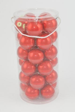 DUE ESSE Set 30 ks skleněných vánočních koulí, červená perleť, Ø 6 cm