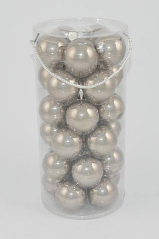 DUE ESSE Set 30 ks skleněných vánočních koulí, stříbrná perleť, Ø 6 cm