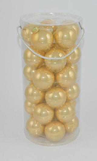 DUE ESSE Set 30 ks skleněných vánočních koulí, zlatá perleť, Ø 6 cm