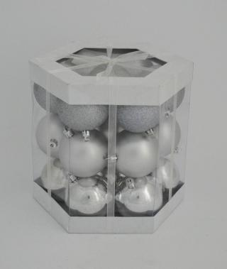 DUE ESSE Set vánočních stříbrných koulí 21 ks, Ø 7 cm