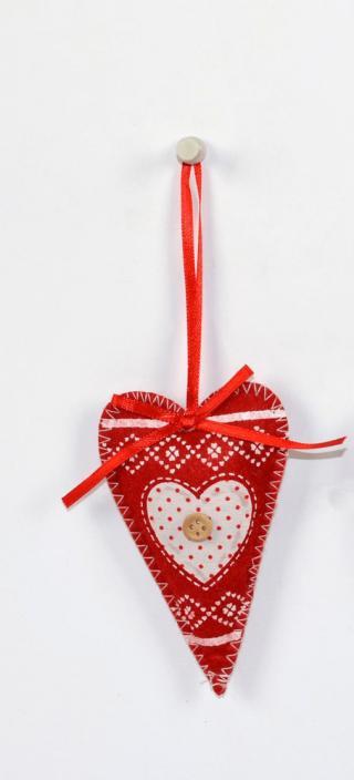 DUE ESSE Vánoční ozdoba látková červená, výška 10 cm