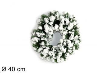 DUE ESSE Vánoční zasněžený věnec, Ø 40 cm