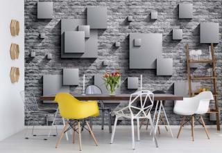 Fototapeta - 3D Squares Stone Wall Grey