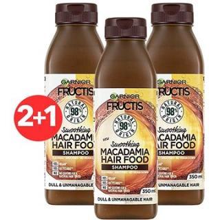 GARNIER Fructis Hair Food Smoothing Macadamia Shampoo 3 × 350 ml