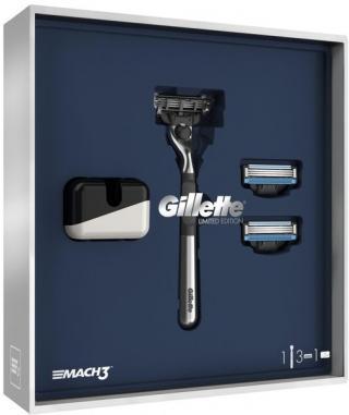Gillette Dárkové Balení mach3 Chromovaný Holicí Strojek   2 Holicí Hlavice   Stojan