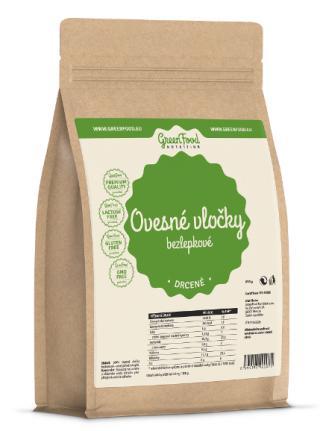 GreenFood Nutrition Ovesné vločky bezlepkové drcené 750g