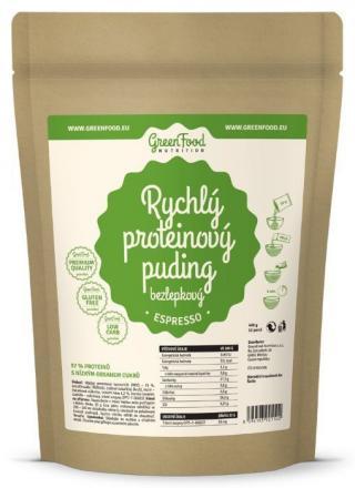 GreenFood Rychlý proteinový puding bezlepkový 400 g espresso