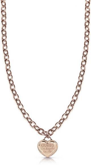 Guess Bronzový náhrdelník se srdíčkem UBN28016