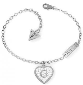 Guess Luxusní náramek se třpytivým srdcem UBB79062-S