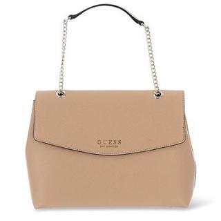 GUESS Robyn Saffiano-Look Large Shoulder Bag Tan