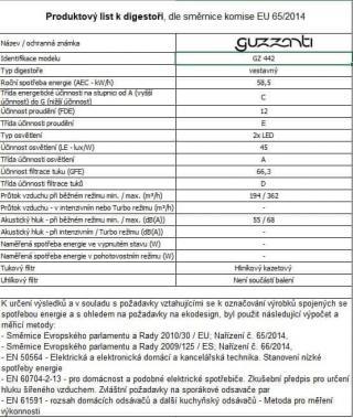 GUZZANTI GZ 442 vestavná digestoř - zánovní