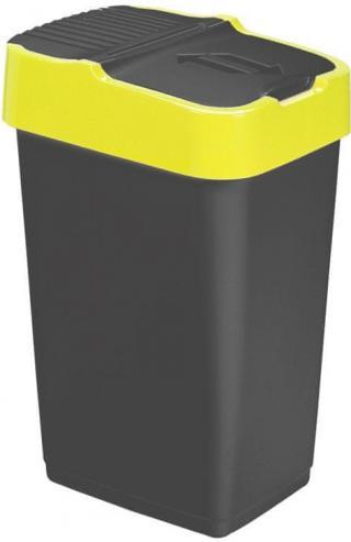 Heidrun Odpadkový koš 35 l, černý se žlutým pruhem - použité