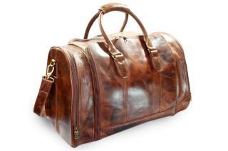Hnědá cestovní kožená velká taška Fundeln