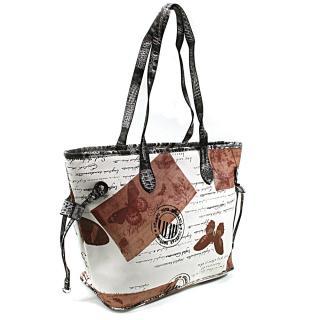 Hnědobílá dámská kabelka přes rameno Hufie
