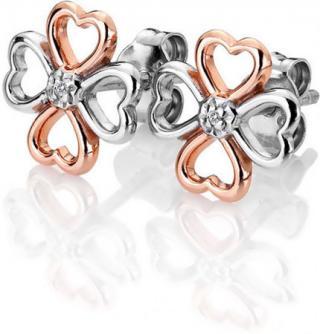 Hot Diamonds Bicolor stříbrné čtyřlístkové náušnice s diamanty Lucky in Love DE633