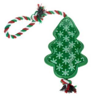 Hračka pro psy Vánoční stromek s lankem - 1 kus