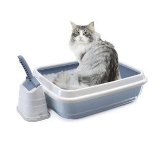 IMAC Kočičí záchod s vysokým okrajem a lopatkou, modrý - rozbaleno