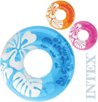 INTEX Kruh nafukovací 91cm plavací kolo do vody potisk květiny 3 barvy 59251