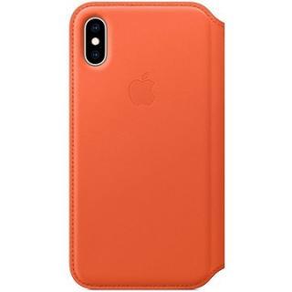 iPhone XS Kožené pouzdro Folio temně oranžové